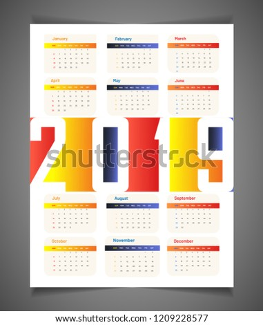 2019 Planner Set 12 Months Wall Stock Vector Royalty Free