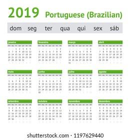 2019 Portuguese American Calendar. Week starts on Sunday