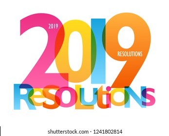 2019 RESOLUTIONS colorful typography banner