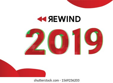 2019 Rewinds with video compilation flashback story and incident during 2019, banner, logo type, design illustration