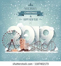 2019. Roller coaster.Winter urban landscape. City with snow. Christmas and new year. Cityscape. Buildings.Vector illustration.Lettering.