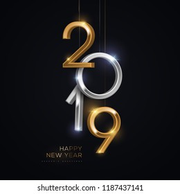 2019 silver and gold numbers hanging on black background. Vector illustration. Minimal invitation design for Christmas and New Year.