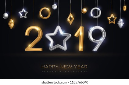 2019 silver and gold numbers with star hanging on black background. Vector illustration. Minimal invitation design for Christmas and New Year. Winter holiday decorations.