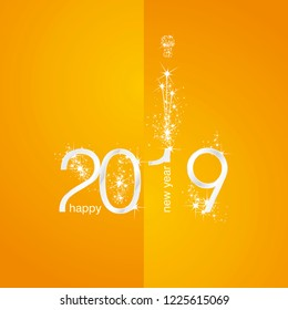 2019 Silver shining New Year firework champagne orange yellow background