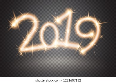 2019 sparkler sign. Firework sign isolated on transparent background. Sparkling symbol of New Year. Applicable for banner, flyer, poster. Vector illustration