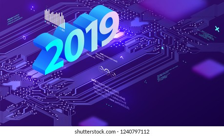 2019 technology concept with circuit board, application development code elements and retro futuristic style for holiday poster, placard and business presentation. Eps10 vector illustration