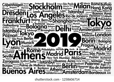 2019 travel cities word cloud collage, trip destinations concept background
