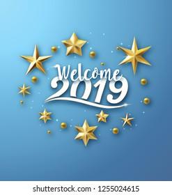 2019 - typographic new year greeting design
