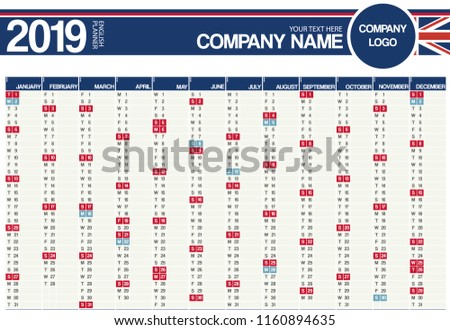 2019 united kingdom english planner calendar with vertical months and holidays for england northern ireland