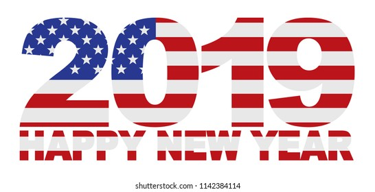 2019 USA American Flag Numbers Outline Isolated on White Background vector Illustration