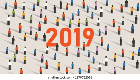 2019 vector background of a New Year eve celebration with crowd of people. Vector