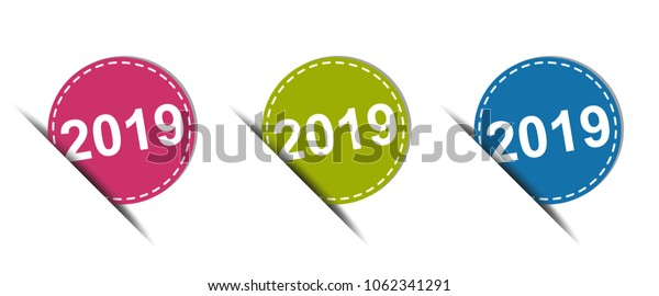 2019 Web Button - Colorful Vector Icons - Isolated On White Background