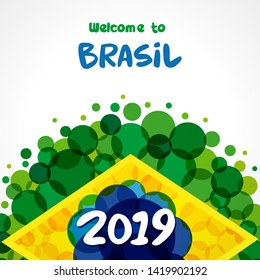 2019 welcome to Brazil green background. World of Brasil pattern with flat watercolor in brazilian flag colors. Championship Conmeball Copa America 2019. Vector illustration