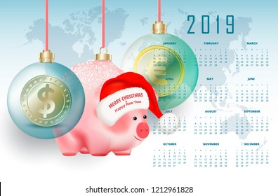 2019 year business calendar with eastern chinese symbol pig and world currencies in bubbles on red ribbons on world map background. Santa Claus hat with greetings Merry Christmas and Happy New Year