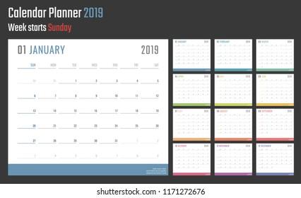 2019 year calendar, calendar design for 2019 starts sunday