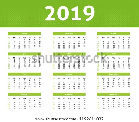 2019 year calendar with english month ligh green halftone style with white backround week
