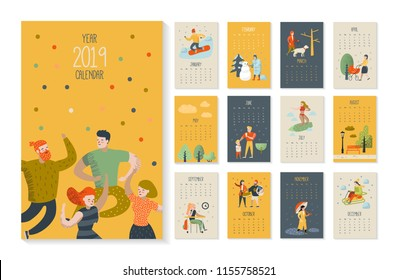 2019 Year Monthly Calendar with Flat People Characters. Calendar Template Layout. Vector illustration
