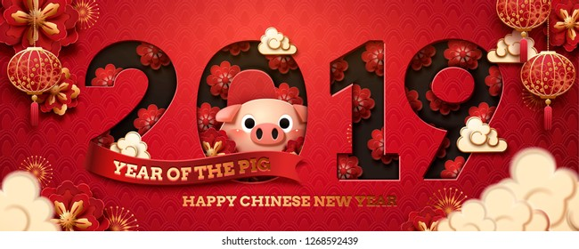 2019 year of the pig banner design with flowers and piglet