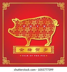 2019 year of the Pig. Chinese New Year greeting card of golden pig. (chinese caption: Golden pig celebrate new year)