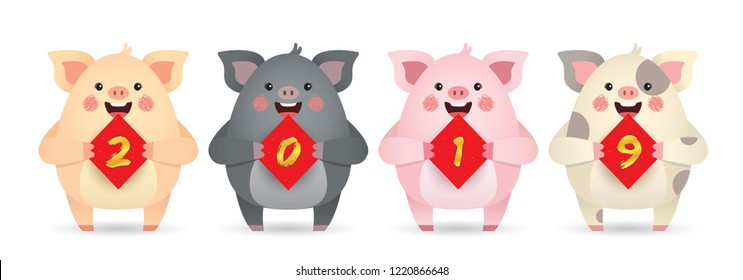 2019 year of the pig. Cute cartoon pigs with couplet of 2019 isolated on white background. Chinese new year design element. Cartoon pig in different color.