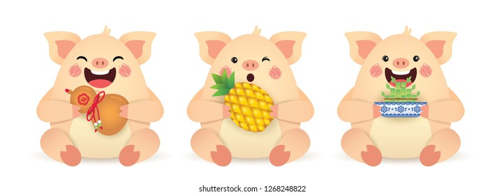 2019 year of the Pig illustration. Set of cute cartoon pig holding chinese bottle gourd, pineapple & bamboo plant isolated on white background. Chinese New Year icon or item. (translation: blessing)