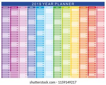 2019 year planner calendar vector