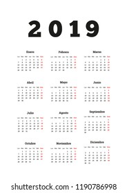 2019 year simple calendar in spanish, a4 vertical sheet on white