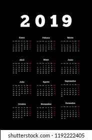 2019 year simple calendar in spanish on dark background, a4 vertical sheet