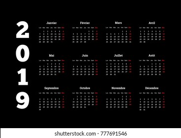 2019 year simple white calendar on french language on black background