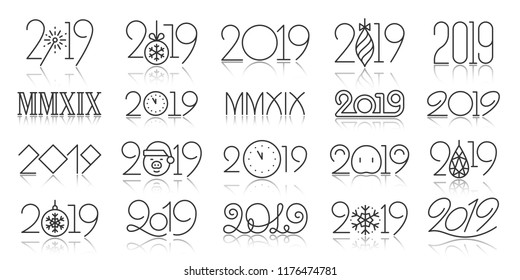 2019 year thin line icon set. Outline sign kit of 20-19. Number banner linear icons includes subtle script, creative font, winter typography. Simple 2019 black contour symbol vector Illustration