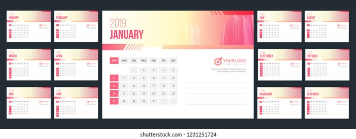 2019 yearly calendar design with space for your image.