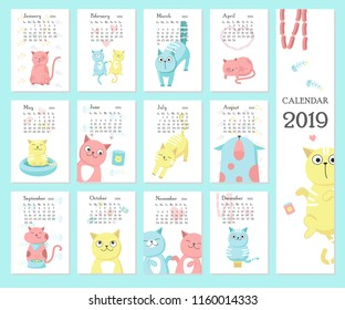 2019 yearly calendar vector template with sunday-saturday format and cute cats design.