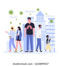 2019-nCoV covid-19 spreading. Coronovirus alert. Contaminated man without a face mask. Isolated vector illustration in cartoon style