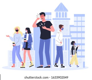 2019-nCoV covid-19 symptoms and spreading. Coronovirus alert. Contaminated man without a face mask have a cough. Isolated vector illustration in cartoon style