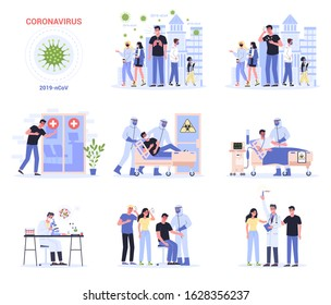 2019-nCoV covid-19 symptoms and spreading and treatmen. Coronovirus alert. Research and development on a preventive vaccine. Set of isolated vector illustration in cartoon style