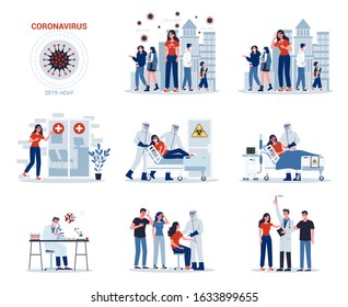 2019-nCoV covid-19 symptoms and spreading and treatment. Coronovirus alert. Research and development on a preventive vaccine. Set of isolated vector illustration in cartoon style