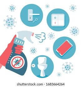 2019-nCoV covid-19 virus protection tips. Coronovirus alert. Set of flat vector illustration. What items to disinfect - door handle, toilet, telephone, switch. Sanitizer in hand