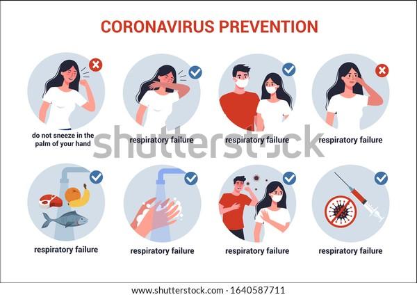 2019-nCoV covid-19 virus protection tips. Coronovirus alert. Prevention infographics. Set of isolated vector illustration in cartoon style