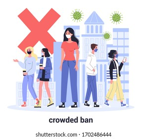 2019-nCoV, pandemic global impact. Quarantine in the city. Crowded place bun. Men and women in protective medical masks. Isolated flat vector illustration
