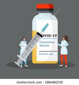 2019-ncov vaccine medicine. corona virus injection syringe. fight against coronavirus.Stop Caronavirus. Vector Flat Cartoon Illustration.