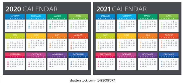 2020 2021 Calendar - illustration. Template. Mock up. Week starts Sunday
