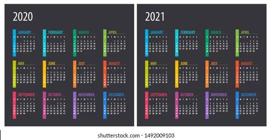 2020 2021 Calendar - illustration. Template. Mock up Week starts Sunday