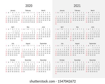 2020 and 2021 wall calendar. Vector simple design