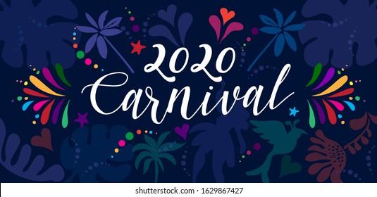 2020 Abstract Carnival Mardi Gras Music Festival ethnic pattern tropical palm tree leaves, samba parade dancer, floral exotic jungle banner Rio Brazil, New Orleans, caribbean, notting hill batucada