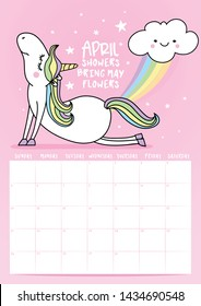 2020 april calendar with calligraphy phrase and unicorn doodle: APRIL SHOWERS BRING MAY FLOWERS. Desk calendar, planner design, week starts on sunday, stationery