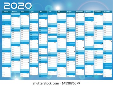 2020 blue calendar vector Overview plan