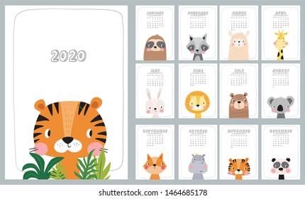 2020 calendar with cute Hand drawn animals lion, koala, hare, lion, tiger, bear, panda, fox, raccoon, hippo,