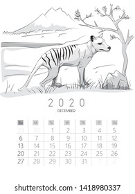2020 calendar with drawing animal designs