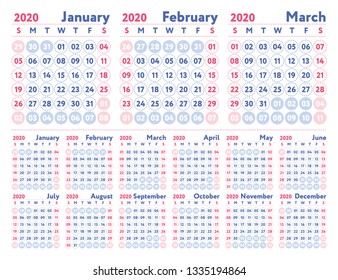 2020 calendar. English calender. Color vector template. Week starts on Sunday. Business planning. New year planner. Design
