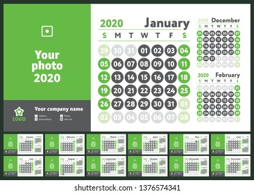 2020 calendar. English calender. Green color vector template. Week starts on Sunday. Business planning. New year planner. Design